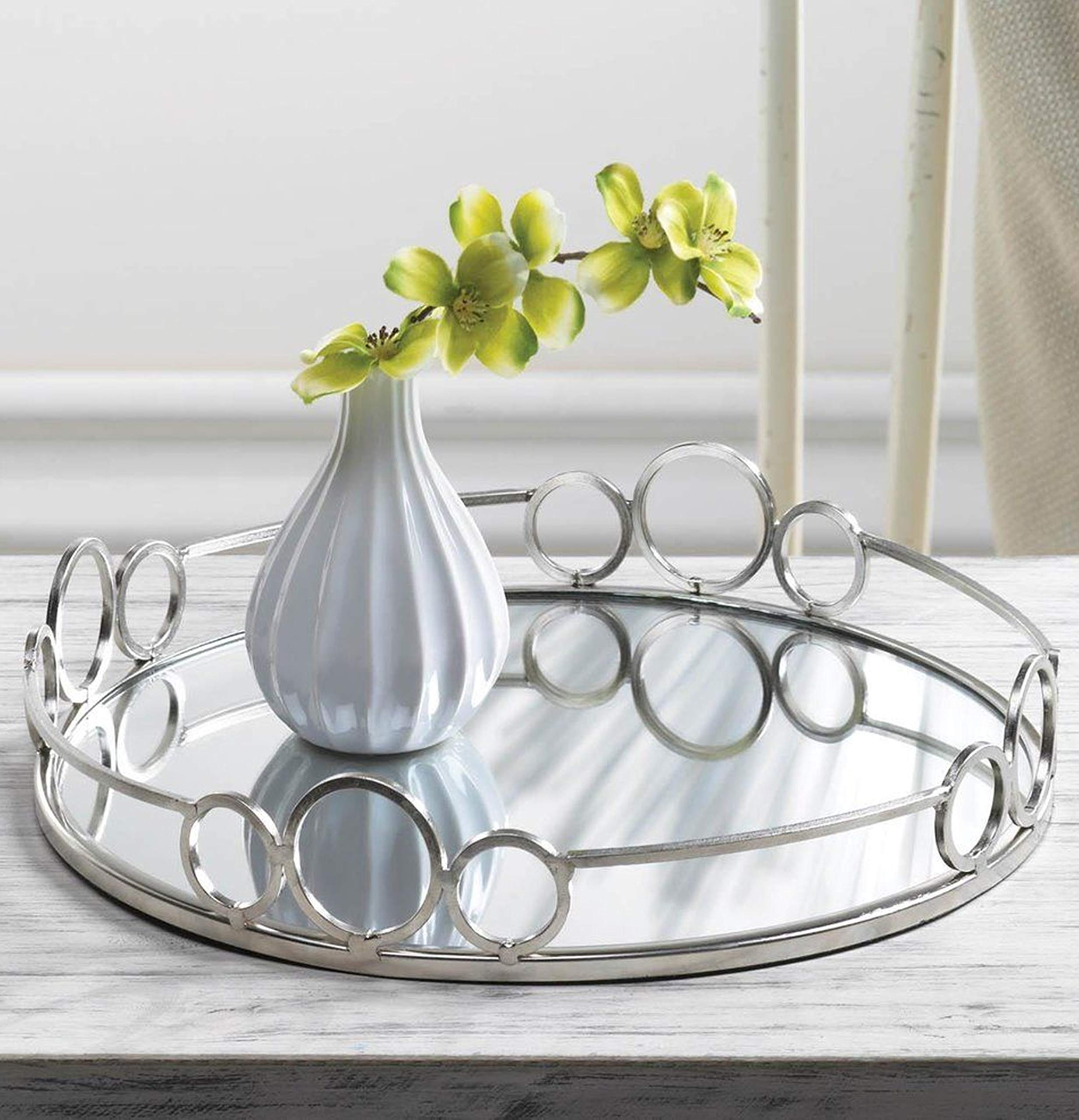 Round Mirrored Tray Beautiful Decorative Clear Glass Metal Vanity Trays Silver Round Mirror Cosmetics Organizer Chrome Rails Home Wall Table Top Accent Centerpiece Serveware Gifts for Women by Aspen Tree (Image #1)