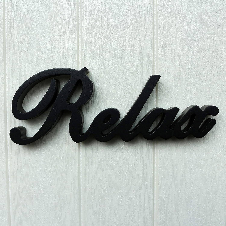 Noir mat en bois Words Pancarte sur pied Relax pour bureau//table///étag/ère murale//Home//Office D/écoration Art 30,5/cm L x 4 Cvhomedeco. 1//10,2/cm H x 2,5/cm T.