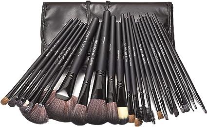 KanCai® 24 piezas pinceles de maquillaje profesional con el juego de manijas de madera - kit de cepillo cosmético con estuche de cuero sintético: Amazon.es: Belleza