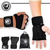 Freedom Fitness World Weight Lifting Gloves- Black with wrist wrap support and heavy duty silicon grip for power body building- light weight crossfit gear for men and women