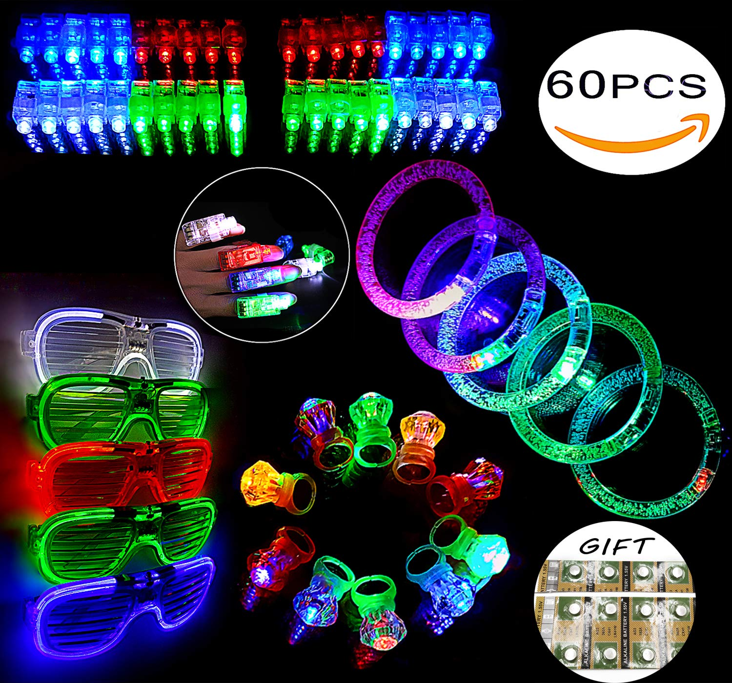 FYT 60 PCS LED Light Up Toys Glow In The Dark Party Supplies,Party Favors For Kids、Parents、Friends,With 40 LED Finger Lights+10 LED Lighted Rings+ 5 Bracelets+ 5 Flashing Slotted Shades Glasses