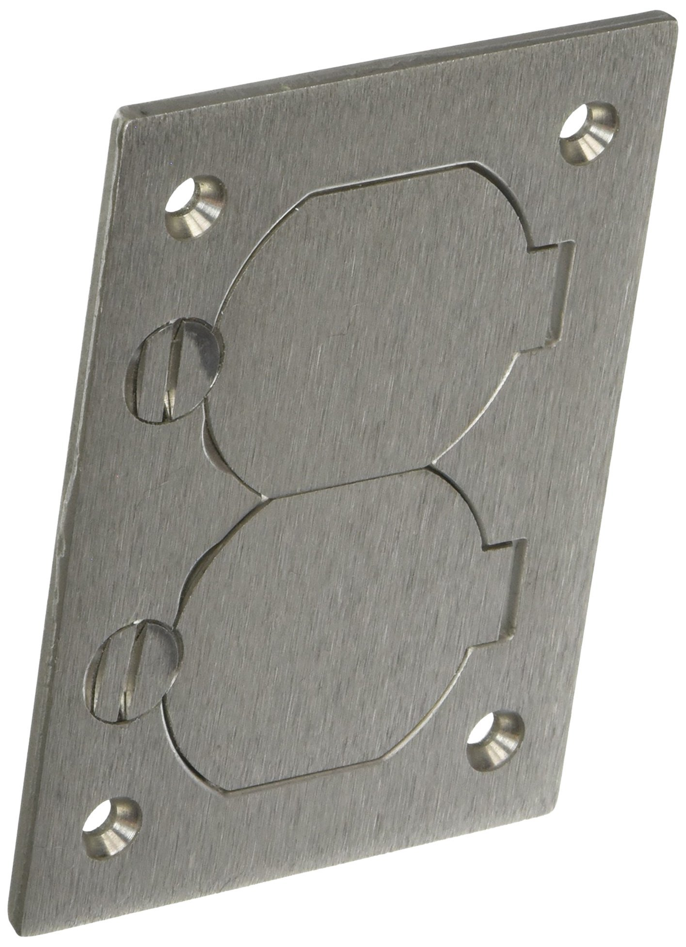 Hubbell Wiring Systems SA3825 Aluminum Round Floor Box Rectangle Duplex Flap Cover, 4-5/32'' Length x 2-63/64'' Width