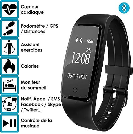 Bracelet connecté - OuiVA Band One - Marque Française - Capteur Cardiaque Podomètre Bluetooth 4.0 - Tracker Activité physique (Noir): Amazon.fr: High-tech