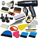 Ehdis® 16 types d'outils de vinyle pour vaisselle de voiture Outil de teintures pour montage automatique de film de teinture Installation ou retrait d'applications avec affichage à cristaux liquides Pistolet à chaleur