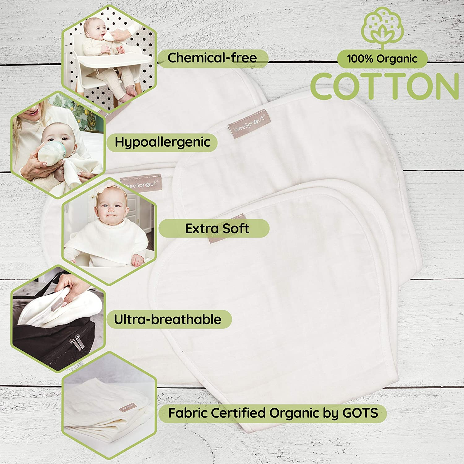 WeeSprout Set of 4 Organic Cotton Burp Cloths - Four Ultra-Absorbent Layers Keep Clothes Dry, Button Transforms Burp Cloth Into Baby Bib, Machine Washable & Dryer Friendly, Unisex for Boys & Girls: Home & Kitchen