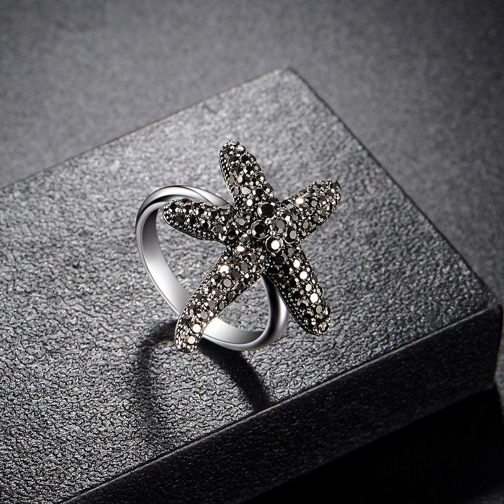 Dnswez Starfish Black Crystal Marcasite Fashion Statement Ring(10)