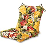 Greendale Home Fashions Indoor/Outdoor Seat/Back Chair Cushion, Aloha Black