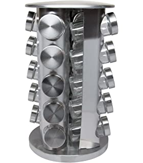 20 Piece Rotating Stainless Steel Spice Rack for Kitchen Organization, Spice Storage, and Cooking