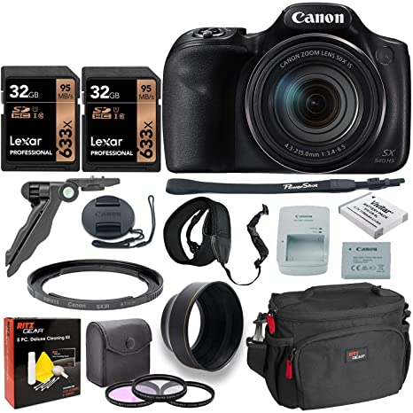 Canon PowerShot SX540 HS Digital Camera + 2X 32GB Memory Card + Camera Bag + Replacement Battery + USB Card Reader + Screen Protectors + Cleaning Kit ...