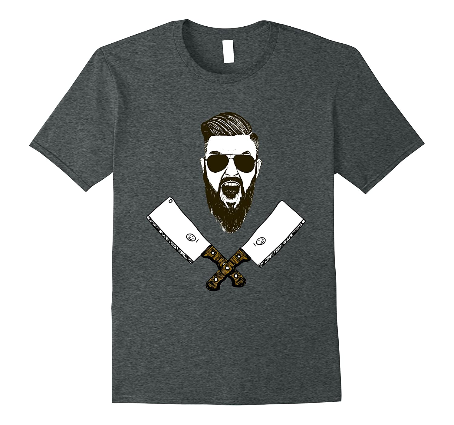 bearded butcher with sunglasses and knifes t-shirt-TJ