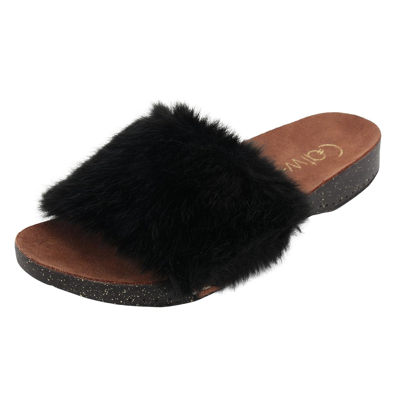Buy Catwalk Women's Faux Fur Slip Ons