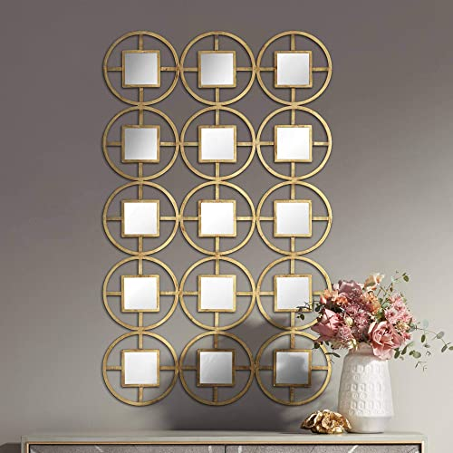 Newhill Designs Verna 40 1 2 H Glossy Gold Circle Metal Mirrored Wall Art