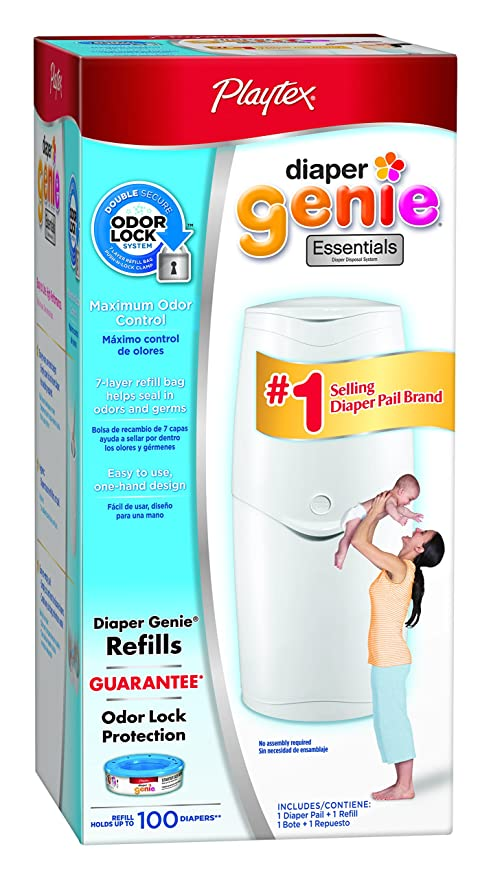 DIAPER GENIE Expressions Pail Playtex System Odor Lock With STARTER REFILL PACK