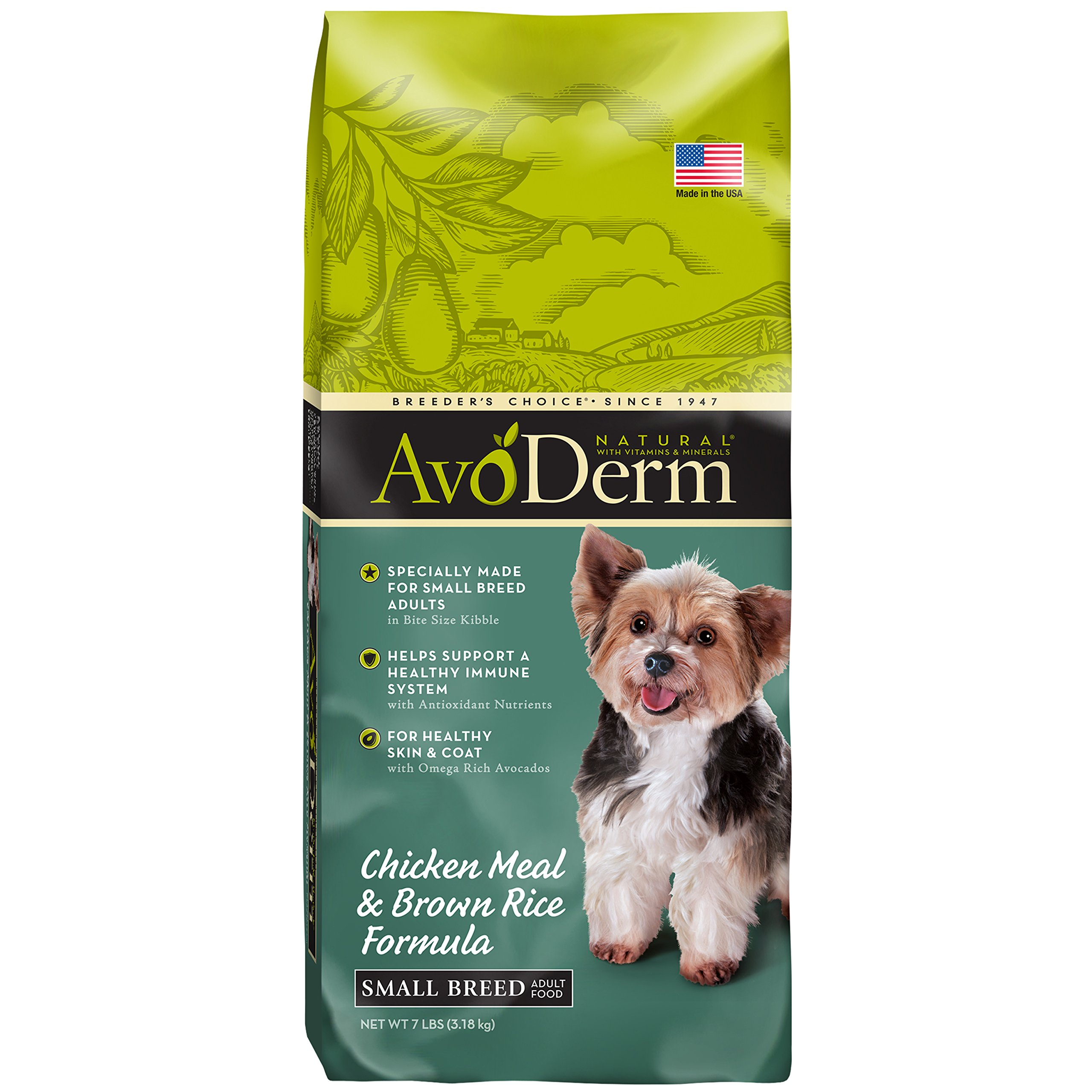 AvoDerm Natural Small Breed Adult Dry Dog Food, Chicken Meal & Brown Rice, 7-Pound
