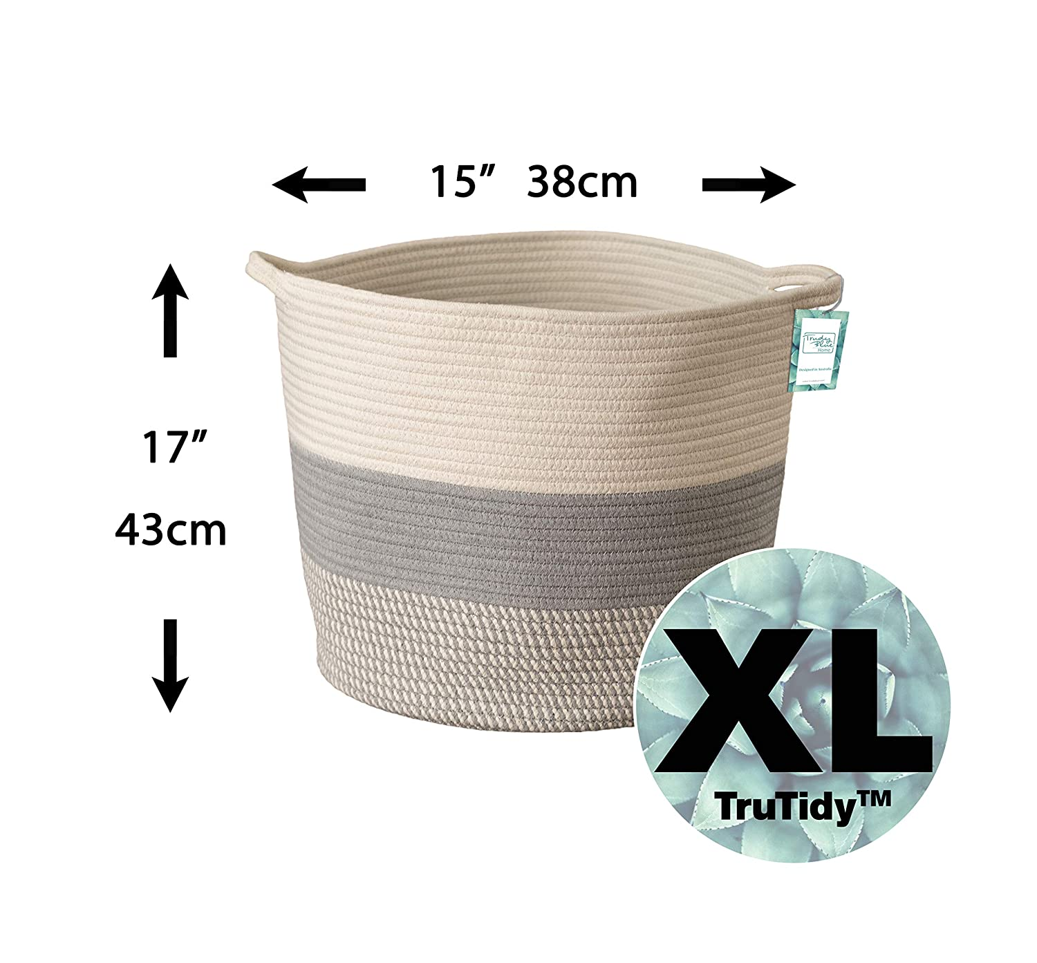 Diaper and Towel Baskets with Handles 15 x 17 Toy Tote Baby Nursery Hamper Bin Extra Large Cotton Rope Woven Storage Basket XL Tall Grey D/écor Basket for Blanket A Cute Round Laundry