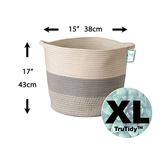 Baby Nursery Hamper Bin Toy Tote Diaper and Towel Baskets with Handles 15 x 17 Extra Large Cotton Rope Woven Storage Basket XL Tall Grey D/écor Basket for Blanket A Cute Round Laundry