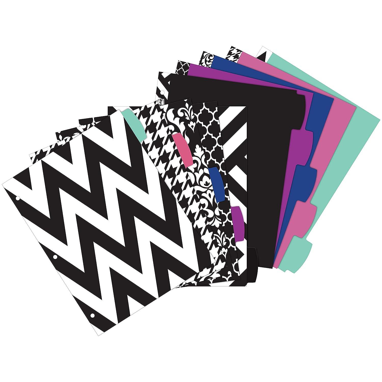 24914 Assorted Designs 1 Set Avery 5 Tab Reversible Fashion Binder Dividers Big Tabs