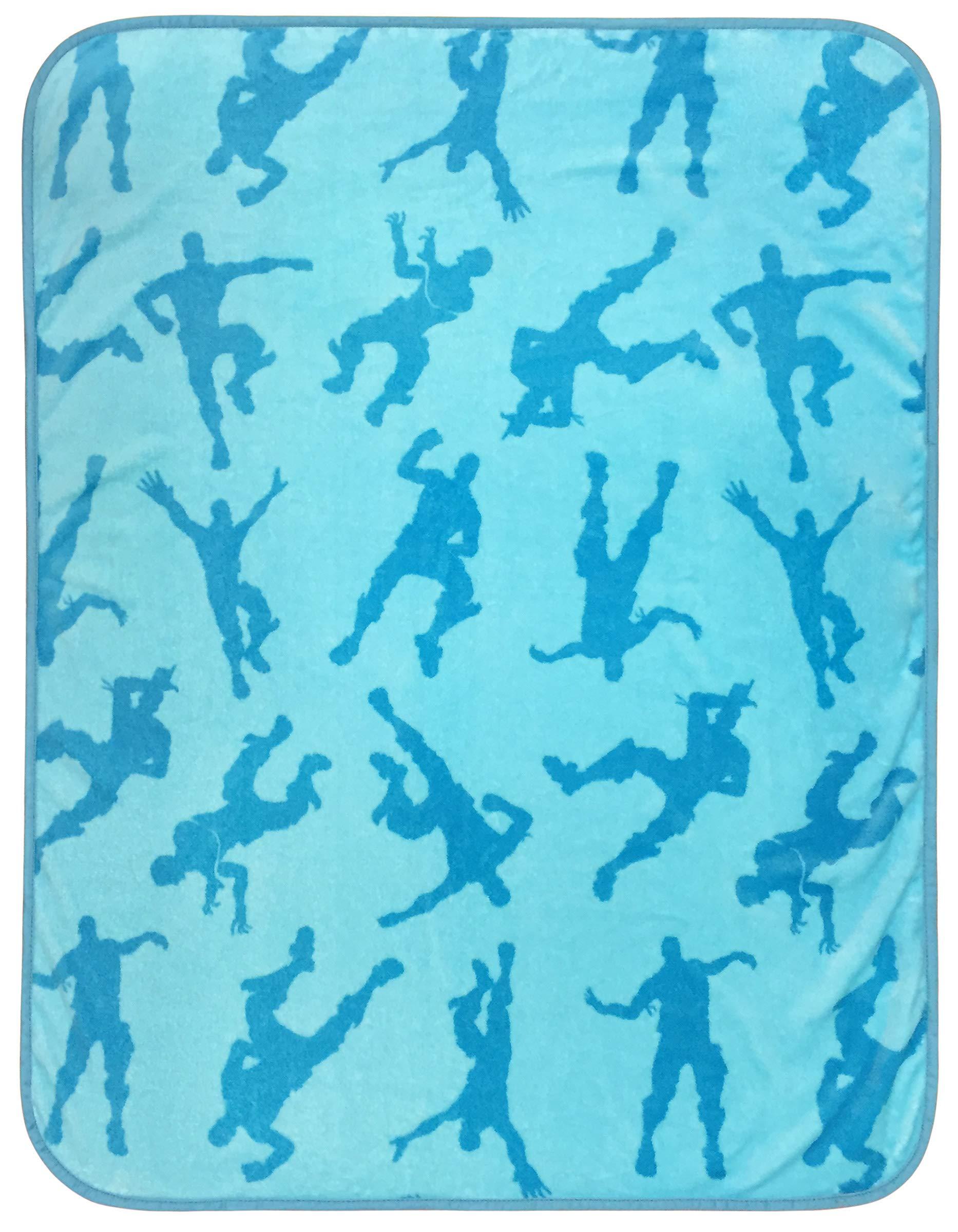 Jay Franco Fortnite Emotes Blue Travel Blanket - Measures 40 x 50 inches, Kids Bedding - Fade Resistant Super Soft Plush Fleece - (Official Fortnite Product) by Fortnite