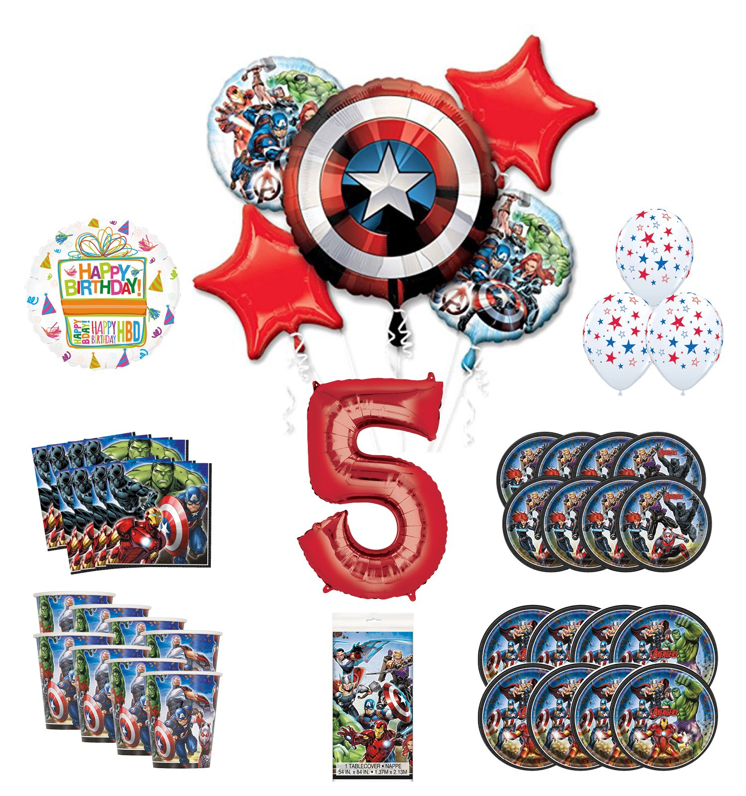 Mayflower Products Avengers 5th Birthday Party Supplies and 8 Guest Balloon Decoration Kit