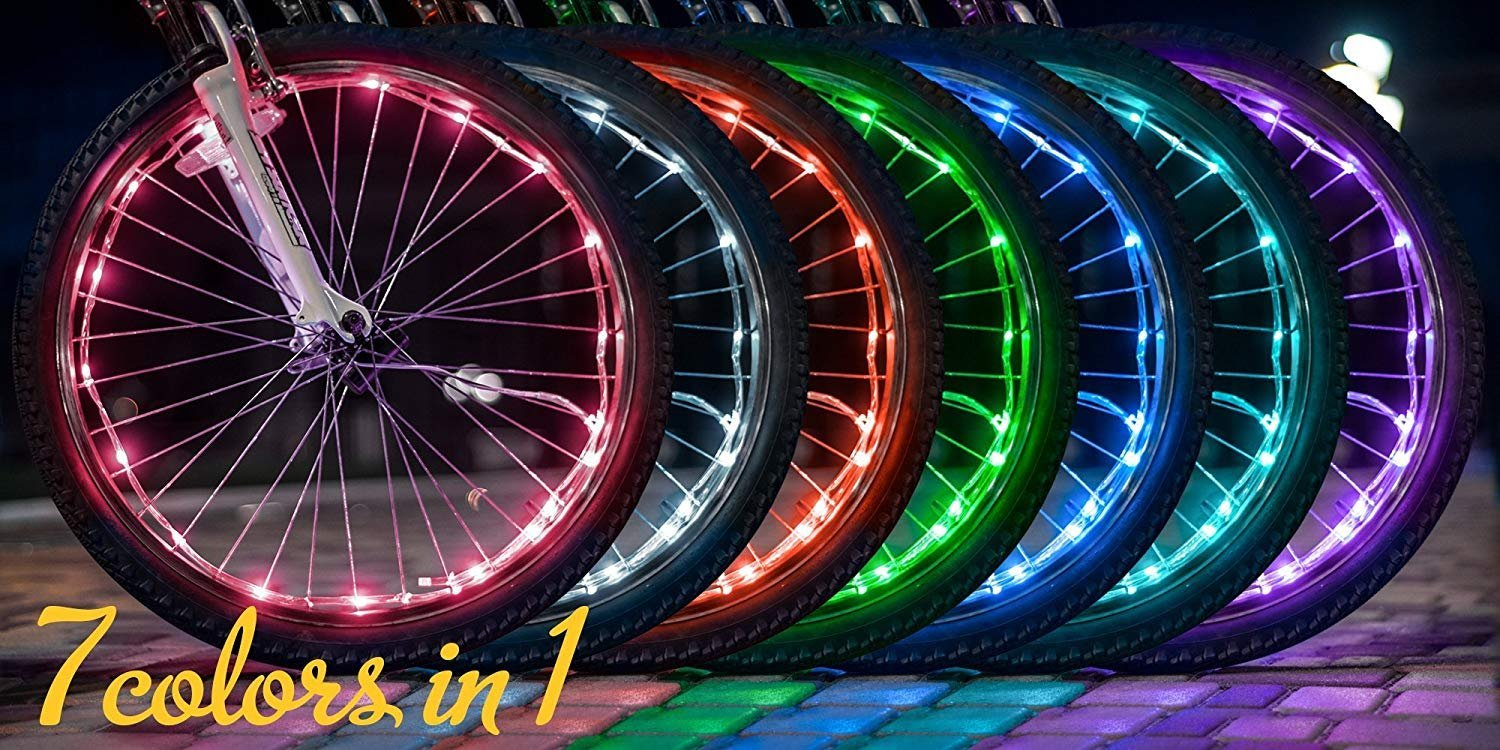 2 Pack Waterproof Bright Bicycle Tire Light Strip, Safety Spoke Lights, Cool Bike Accessories, Light Up Wheels, Safer Bicycle Spokes & Rims Light - Easy to install, No tools Needed,(2 Tiers Pack) by Cozy Homy (Image #7)