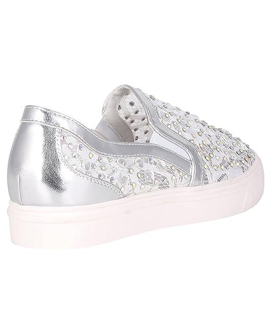 Zapatillas Plateadas Encaje y Brillantes[Blanco,40]: Amazon.es: Zapatos y complementos