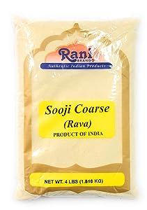 Rani Sooji (Farina, Suji, Rava, Rawa, Semolina) Flour, Coarse 4lbs (64oz) ~ All Natural | Vegan | NON-GMO | Indian Origin
