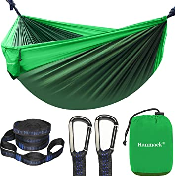 Lightweight Nylon Parachute Hammocks for Backpacking Beach Double//Single Indoor Outdoor Tree Hammock with Bug Insect Net Backyard Travel 2 Hanging Straps Portable Camping Hammock