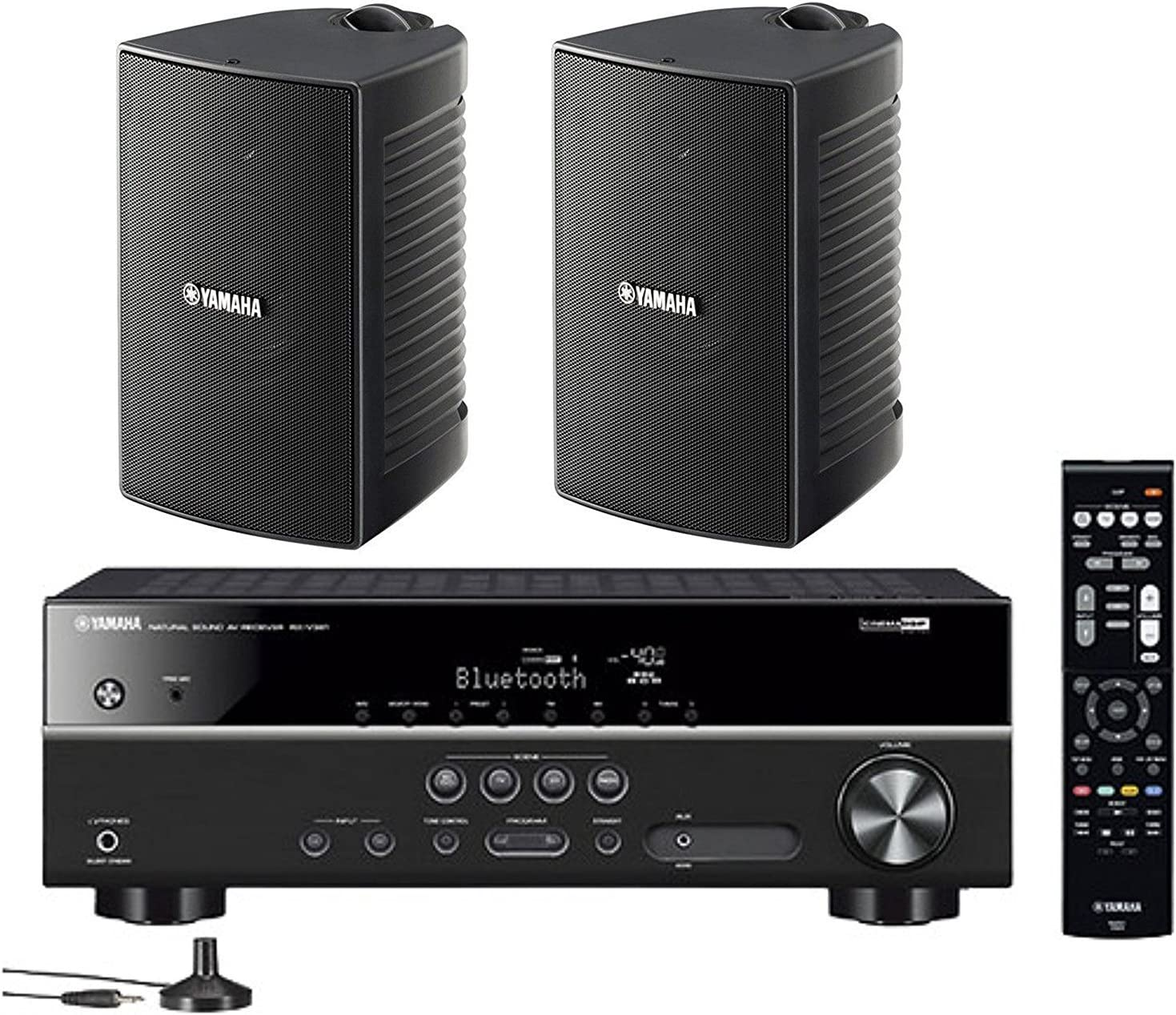 Yamaha 5.1-Channel Wireless Bluetooth 4K A/V Home Theater Receiver + Yamaha Natural Sound High Performance 2-Way Indoor/Outdoor Weatherproof Speakers (Pair)