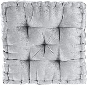 "Intelligent Design Azza Floor Pillow Square Pouf Chenille Tufted with Scalloped Edge Design Hypoallergenic Bench/Chair Cushion, 20"" x 20"" x 5"", Grey"