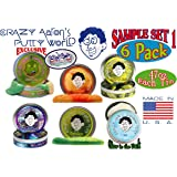 Crazy Aaron's Thinking Putty Mini Tin Gift Set Bundle (Sample Set 1) with Lizard Lips Hypercolor, 6-Pack