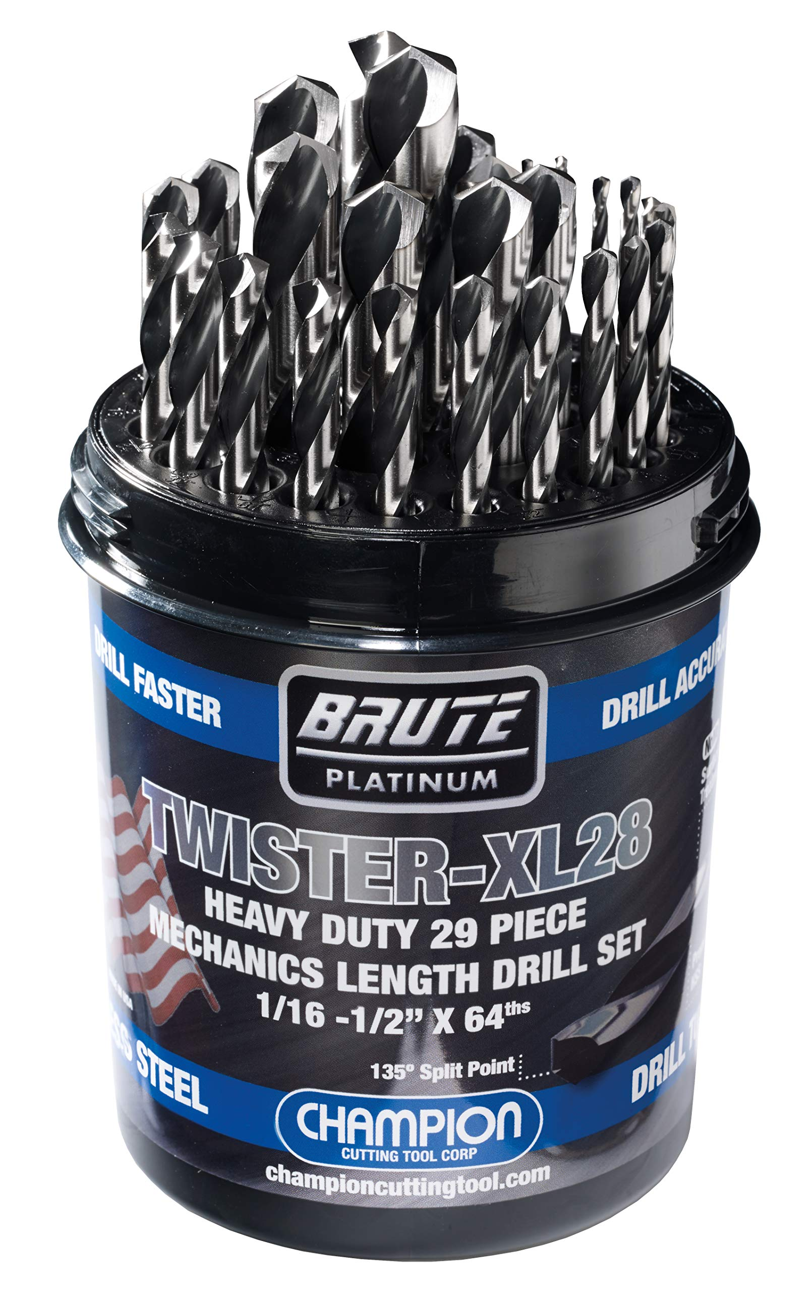 Champion Cutting Tool Brute Platinum 29 Piece 1/16-1/2'' x 64ths  HSS Mechanics Length Twister-XL28 Drill Bit Set-135 Degree Split Point, Water Resistant Index-MADE IN USA by Champion Cutting Tool Corp