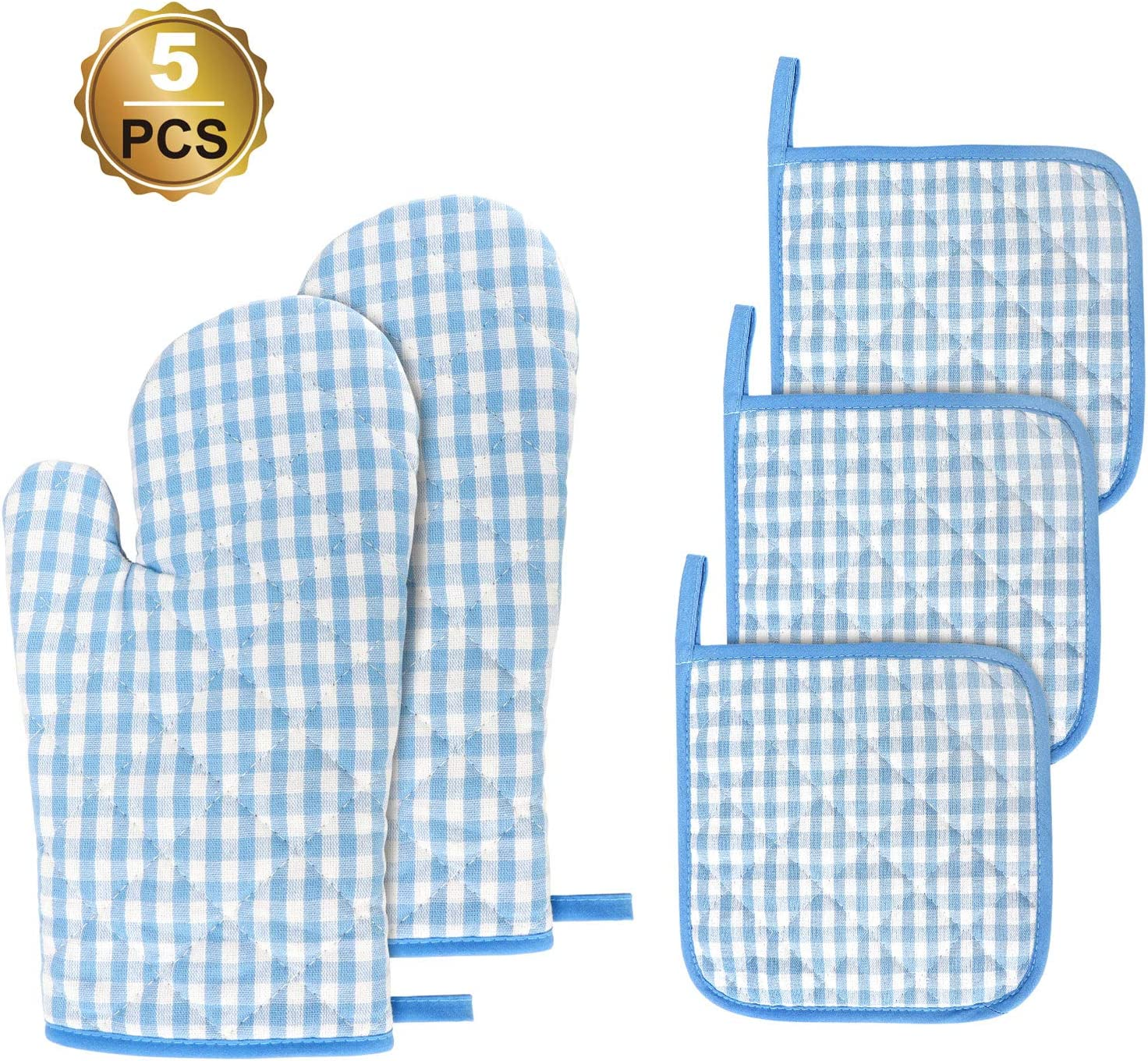 Jennice House Kitchen Oven Mitt and Pot Holders, 5 pcs Heat Resistant Vintage Cotton Gingham Oven Mitts and Potholders Hot Pads Mats Coasters Set for Cooking Baking (Blue Set)
