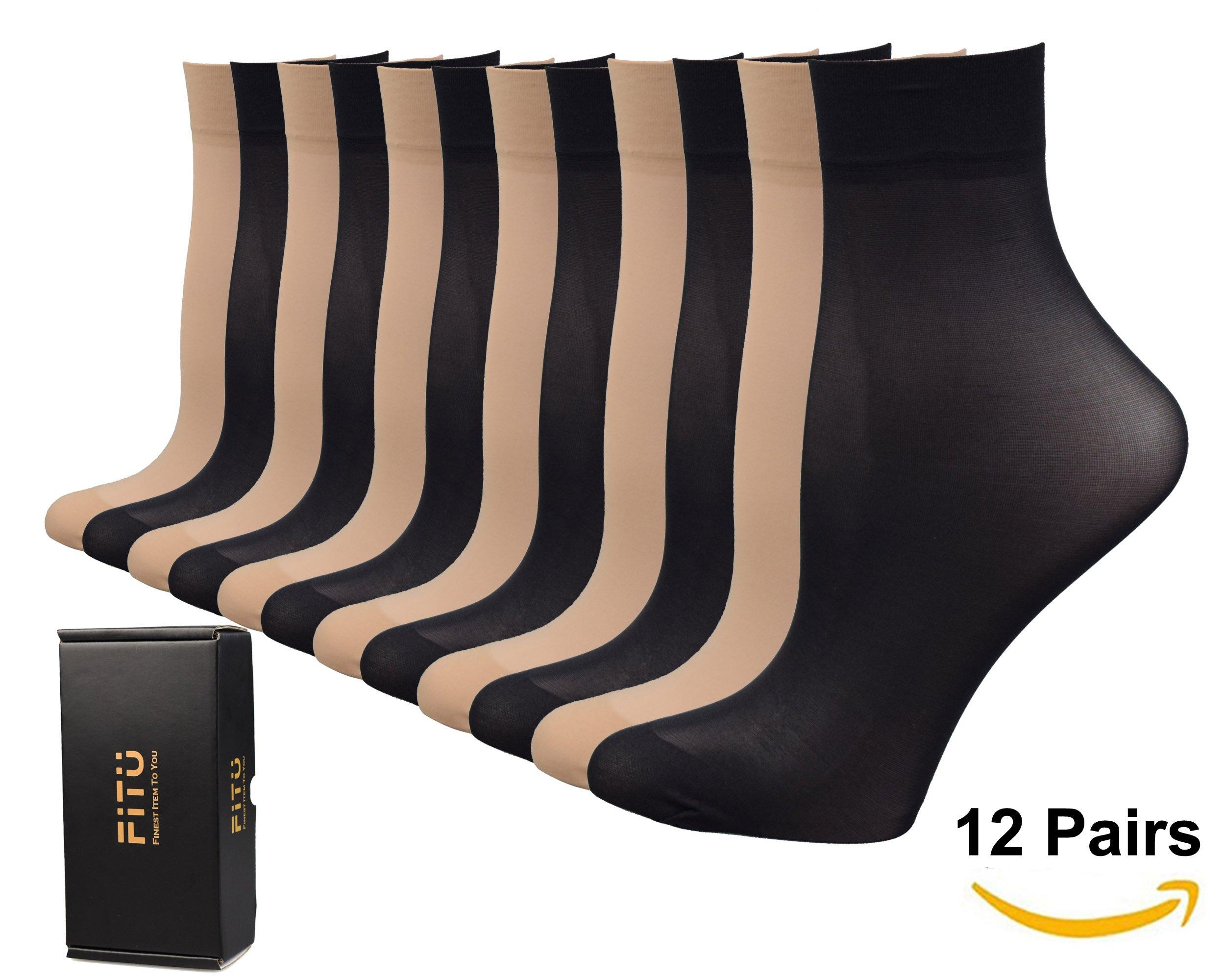 Fitu Women's 50D Extra Soft 12 Pairs Sheer Nylon Ankle High Tights Hosiery Socks (6 Black 6 Beige)