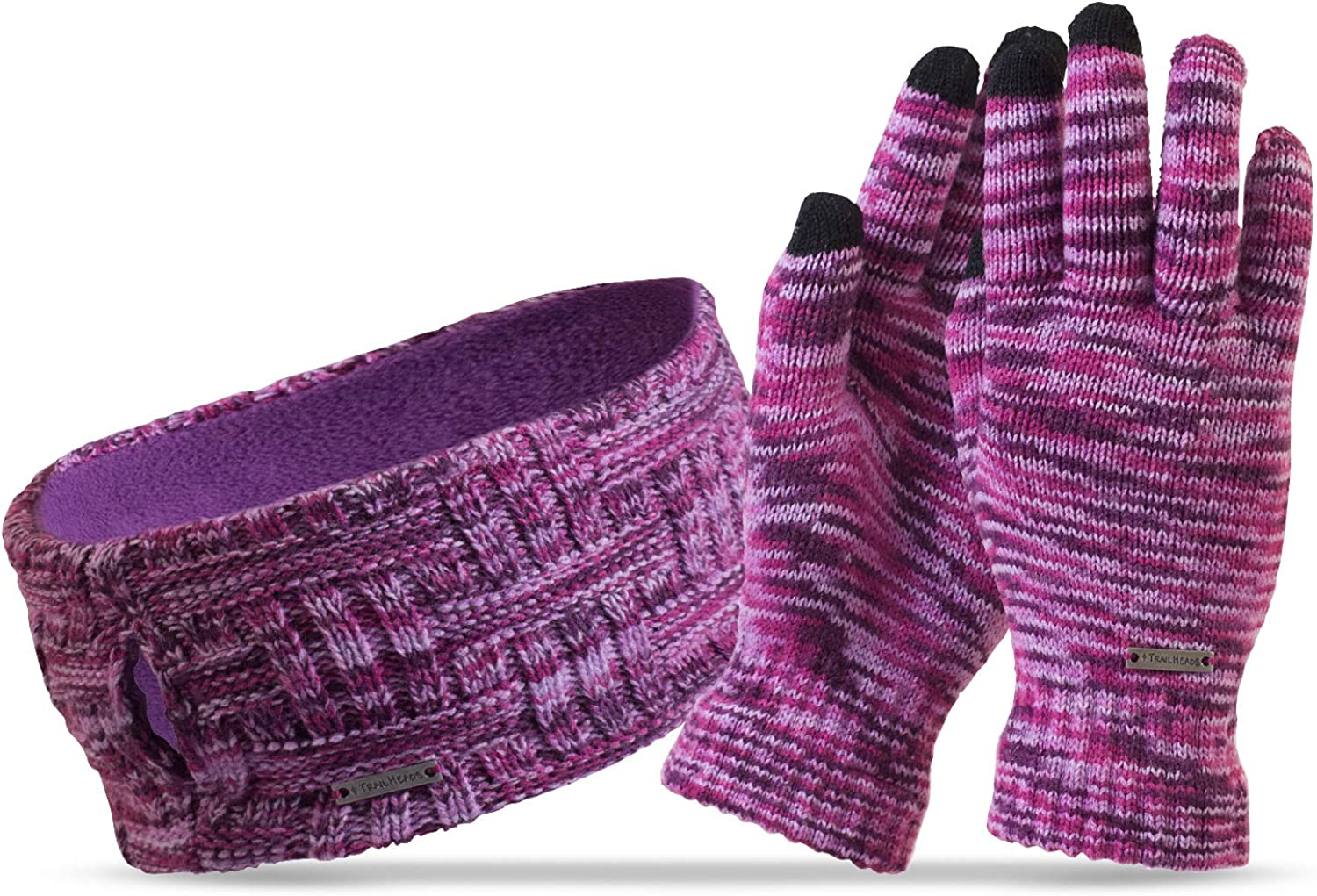 TrailHeads Women's Space Dye Knit Ponytail Headband and Touchscreen Gloves Gift Set