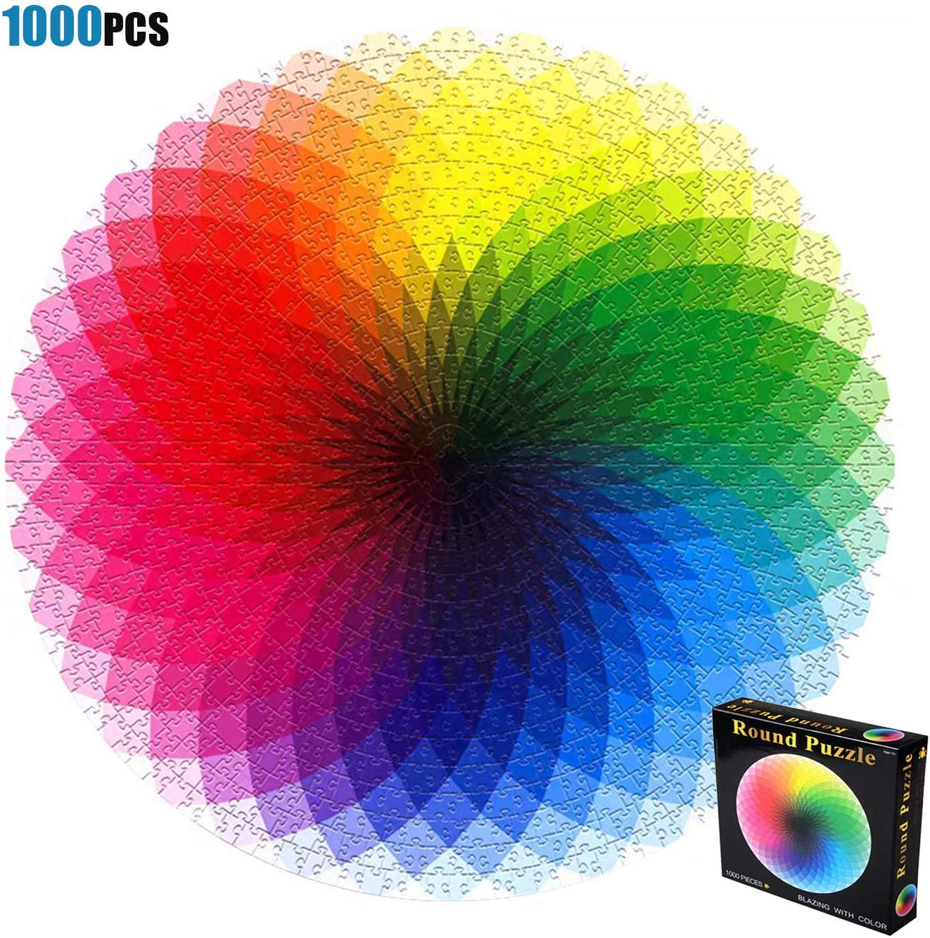 Puzzles for Adults Teen 1000 Piece Gradient Color Rainbow Large Round Jigsaw Puzzle Difficult and Challenge