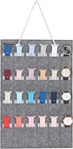 PACMAXI Watch Band Hanging Storage Organizer, Watch Display Storage Roll Holds 24 Watches Expandable for Most Sizes of Watch Bands,Organizer for Watch Band Straps Accessories (Grey)
