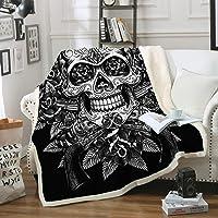 Sleepwish Sugar Skull Blanket, Comfort Warmth Soft Cozy Air Conditioning Machine Wash, Black and White, Rose Skull Sherpa Fleece Blanket