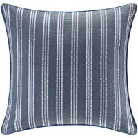 Echo Design Kamala Textured Cotton Euro Sham – 26x26 Embroidered Stripe – Corded Border with Hidden Zipper for Easy Care – Need 26x26 Insert
