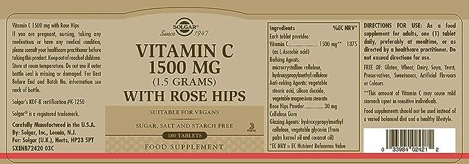 Solgar Vitamina C Rose Hips con escaramujo 1500 mg - 180 Comprimidos: Amazon.es: Salud y cuidado personal