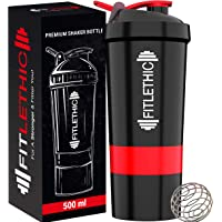 Fitlethic Gym Shaker Bottle, Protein Blender Shaker Bottle 500 ml 100% Leakproof Water Bottle with Two Compartments, Carrying Loop and Stainless Steel Shaker Ball, Ideal for Protein Shake, Gym Workout, Running, Preworkout