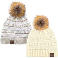 C.C Hat-43 Thick Warm Cap Hat Skully Faux Fur Pom Pom Cable Knit Beanie 2 Pack