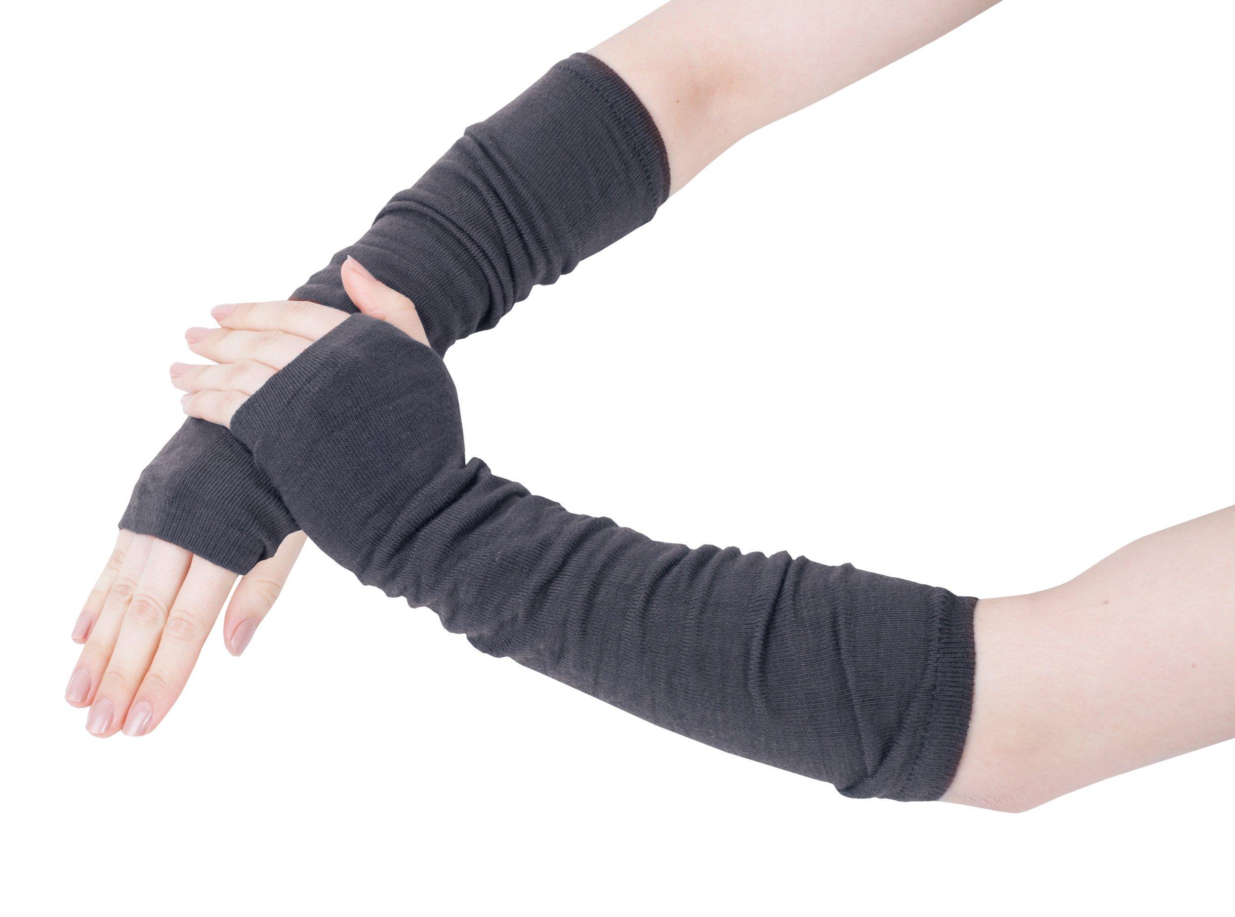 GLV026-Fashion Fine Knit Arm-warmer Fingerless Gloves Grey Marl