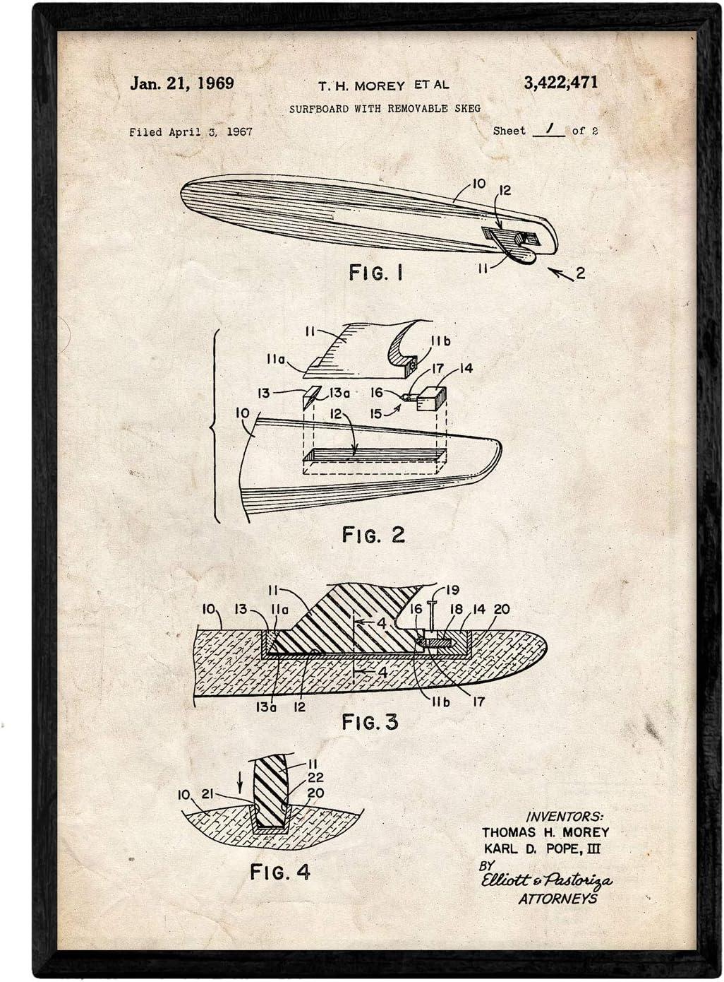 Nacnic Poster con patente de Surf con quilla. Lámina con diseño de patente antigua en tamaño A3 y con fondo vintage