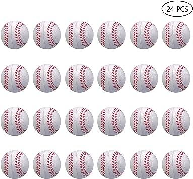 Paquete de 24 mini pelotas de espuma de béisbol para niños: Amazon ...