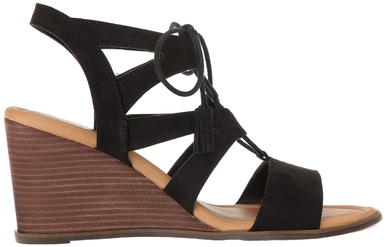Dr. Scholl's Shoes Women's Celeste Wedge Sandal B01LZKGCT2 9 B(M) US|Black Microfiber