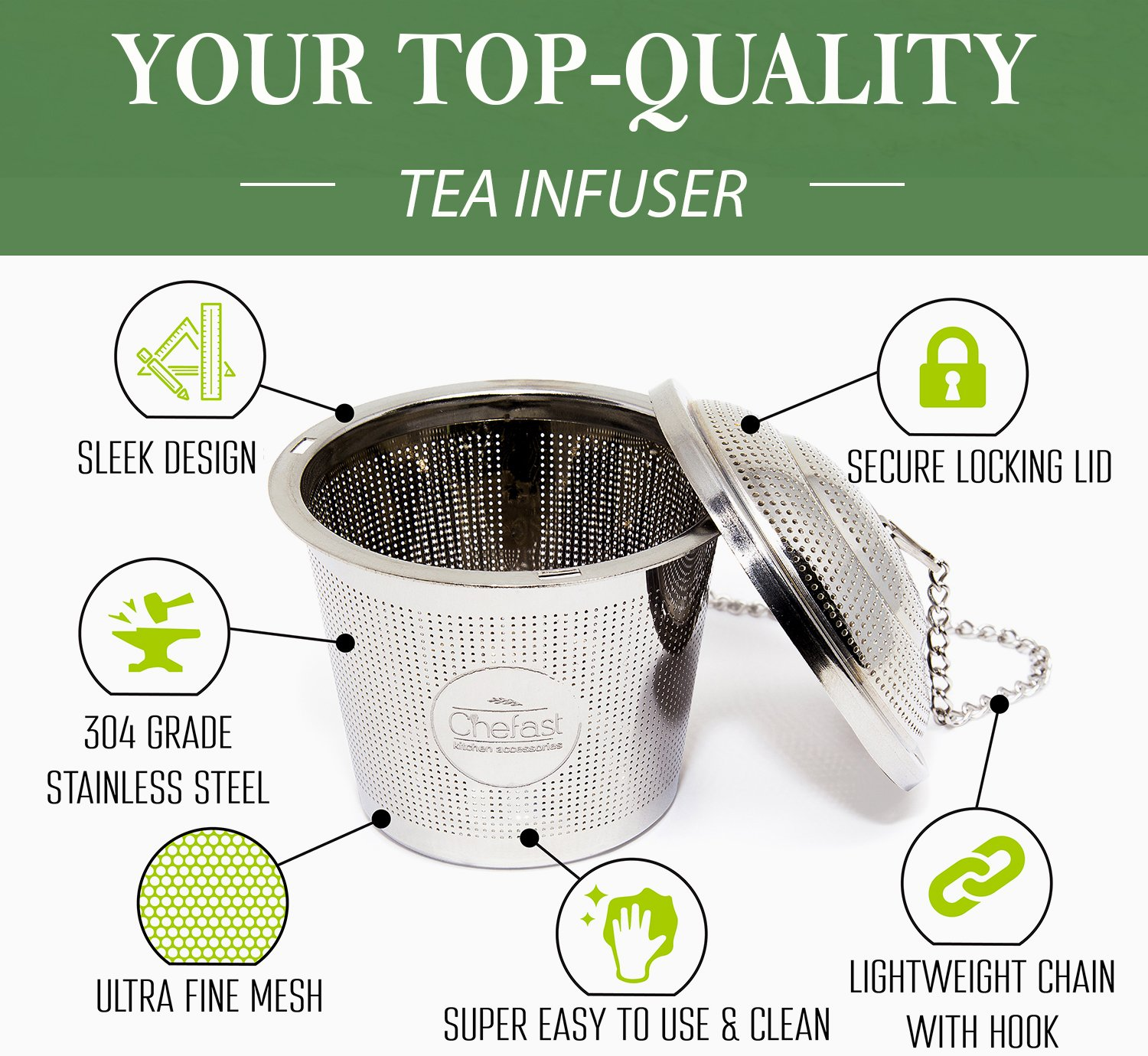 Tea Infuser Set by Chefast (2+1 Pack) - Combo Kit of 1 Large and 2 Single Cup Loose Leaf Infusers, Plus Metal Scoop with Clip - Reusable Stainless Steel Strainers | Diffusers | Balls | Steepers by Chefast (Image #5)
