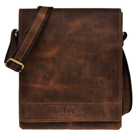 handolederco Messenger de piel satchel bolsa para ordenador portátil para hombre y mujer de piel bolso