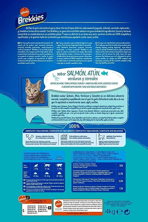 Brekkies Pienso para Gatos con Salmón Atún y Verdura - 4000 gr: Amazon.es: Productos para mascotas