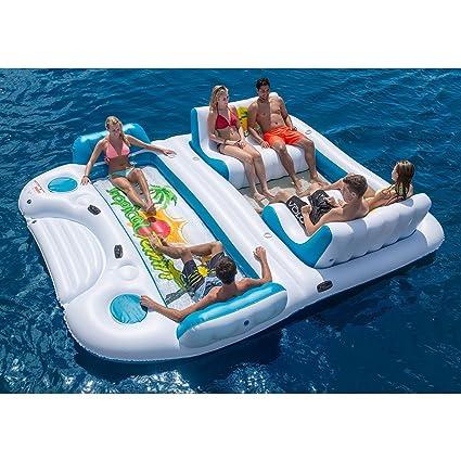 Nueva 6 persona inflable flotador Balsa piscina océano Tropical de Tahití isla flotante