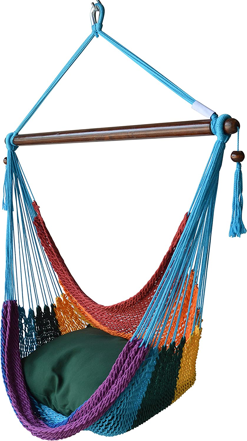 Caribbean Hammocks Hammock Chair with Footrest - 40 inch - Rainbow - 200 lbs Weight Capacity
